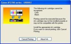 Ink Cartridge Cannot Be Recognized Canon IP 2770